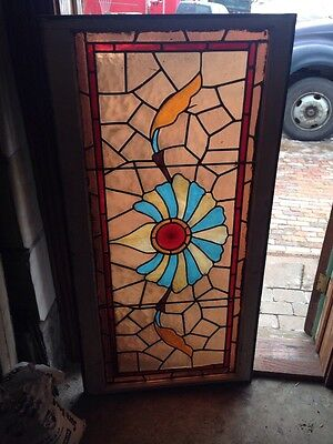 St 67 Antique Stainglass Window Turn-Of-The-Century With Rondelle