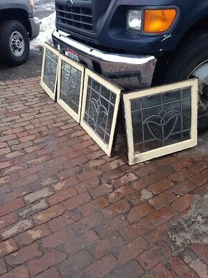 St 73 Four Available Tulip Beveled Glass Windows Antique