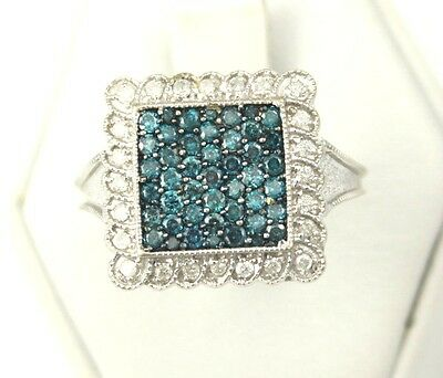 Beautiful Ladies 10k White Gold Fancy Square Motif Blue and White Diamond Ring