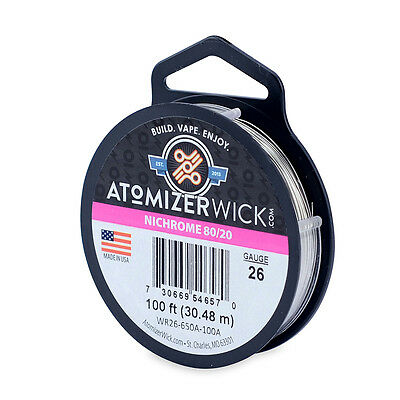 Nichrome 80 Series 26 Gauge wire 0.40mm 2.657 Ohms/ft Resistance, 100ft spool