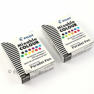 24 x PILOT Parallel Calligraphy Fountain Pen Ink Cartridges - Assorted IC-P3-AST