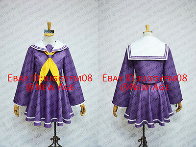 No Game No Life Shiro Uniform Cosplay Costume Dress Purple Yellow Cravat