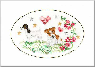 Parson Russell Terrier Birthday Card or Notecard Embroidered by Dogmania
