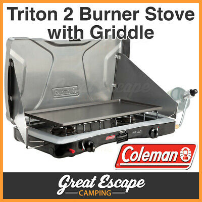 Coleman Triton Instastart 2 Burner Stove and Griddle Camping LPG Gas Cooker