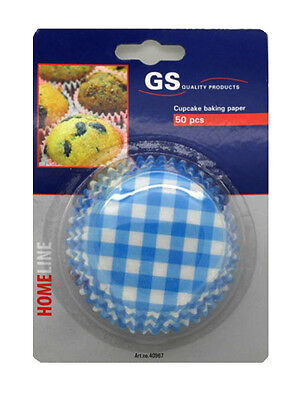 50x GS Intl Home Line Large Paper Cup Cake Cupcake Muffin Case Blue/White