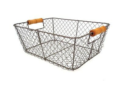 Wire Storage Basket Metal Mesh Crate Vintage Chic Industrial Style Caddy Hamper