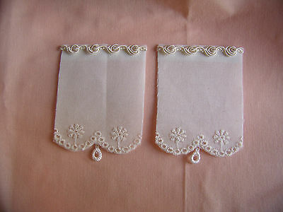 Pair of Dollhouse Victorian Shades Curtains with pulls 1/2 scale