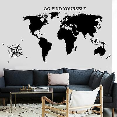 Wall Decal Map Of The World Atlas Compass Quote Go Find Yourself (z2839)