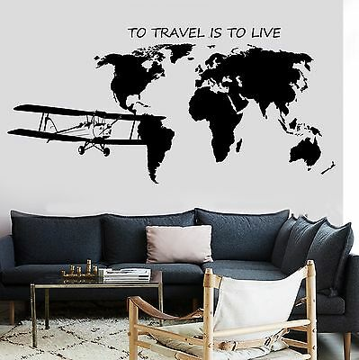 Wall Mural World Map Atlas Airplane Quote To Travel Is To Live Vinyl (z2841)