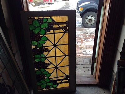 Sg 85 Antique Stained Glass Transom Window Depicting Grapes And Vines