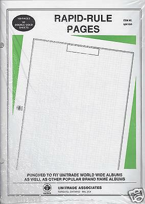 50 - Uni-Safe Rapid-rule Pages (quadrilled) to Fit Harris 2-Post World Albums
