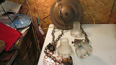 Antique Brass Light Fixture & 3 Shades Roses