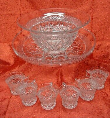 "12"" Imperial Cape Cod Flared Punch Bowl Set w 15"" Liner & 6 Cups"