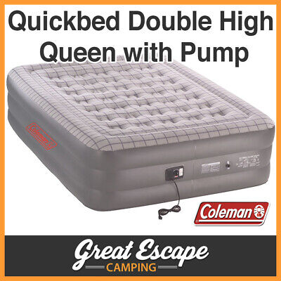 Coleman Quickbed (With 240V Pump) Double Height Air Bed Quick Inflatable Queen