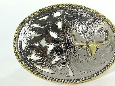Bull Belt Buckle Longhorn Texas Usa Gold Silver Metal Rodeo Western Cowboy Mens