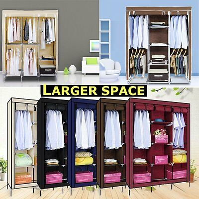 Large Portable Canvas Wardrobe Hanging Rail Large Storage Space Multiple Colors