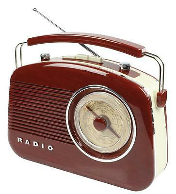 Radio Design Retro Am Fm Portable Marron Grand Ecran Rotatif Gradue
