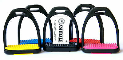 Amidale Polymer Stirrups Black With Different Colours Treads Bnwt