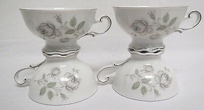 Mystic Rose Mitterteich Bavaria Germany Set Of 4 Footed Tea/Coffee Cups