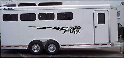 Horses Running Border Horse Trailer RV Decal Stickers 10x70 Set of 2 Stickers