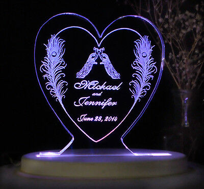Personalized Wedding Cake Topper Peacock Feather & 2 Peacocks Opt LED Light Base