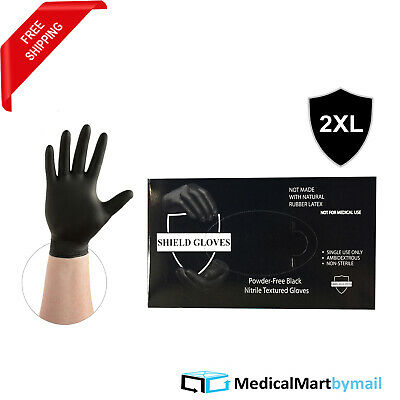 500 Black Nitrile Industrial Disposable Gloves Size 2X-Large Powder Free 3.5 Mil