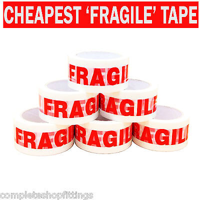 NEW FRAGILE PRINTED STRONG PARCEL TAPE MULTI LISTING 12 6 24 36 48mm 66m