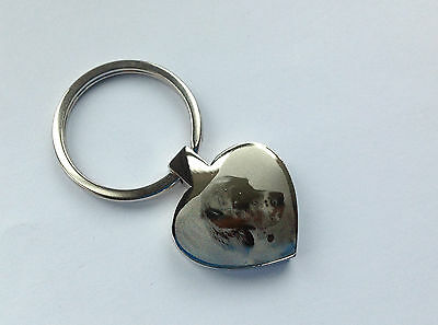 Personalised Photo And Text Engraved Heart Shape Keyring With Free Gift Box