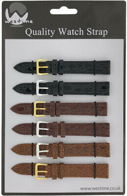 6 x Wholesale Job Lot Regular Croc Grain Leather Watch Straps 10mm to 22mm