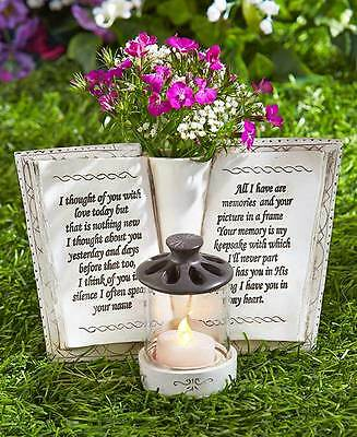 New Garden Memorial Book with Vase and Candle Holder