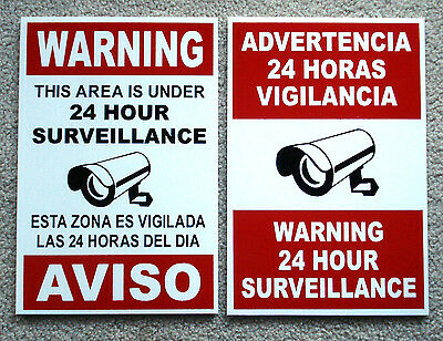2 Security Video Surveillance Warning  24 Hr Coroplast  Signs  Spanish English