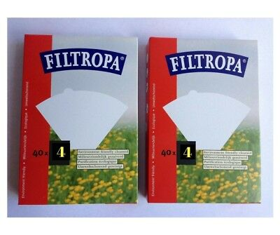 Filtropa Cone Coffee Filters 2 Pack  80 Filters in Total   No.4 Pour Over