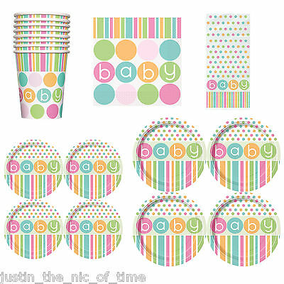Baby Shower UNISEX Party Tableware Supplies Girl or Boy Napkins Plates Cups