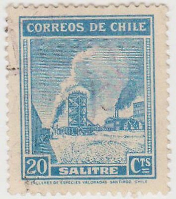 (CH276) 1938 Chile 20c green/blue (D)