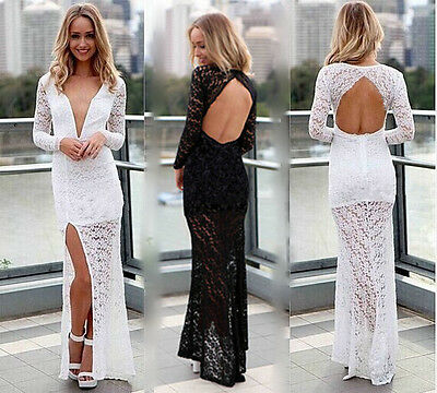 New Elegant Wedding Party Formal Lace Sexy Dress Deep V Neck Cocktail Classic