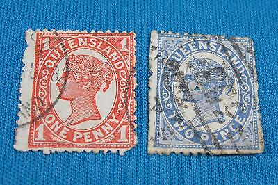 Queensland One Penny Red Two Pence Blue Postage Stamp Two Lot Used Australia