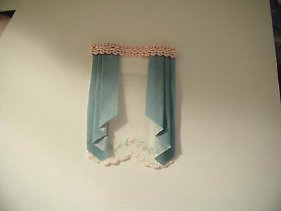 Handmade dollhouse curtains /drapes with shade  1/2 scale blue and pink