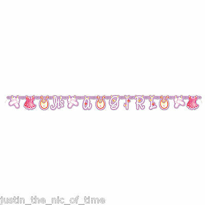Baby Shower GIRLS Pink Party Tableware Supplies Clothesline JOINTED Banner