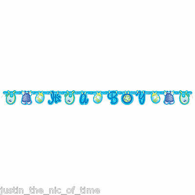 Baby Shower BOY Blue Party Tableware Supplies Boys Clothesline JOINTED Banner