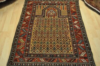 "Antique Caucasian Marasali rug19th century 3'4""x4'7"" Collectable Art on floor"