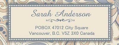 30 Personalized Return Address Labels Laser Printed flower grey Stickers