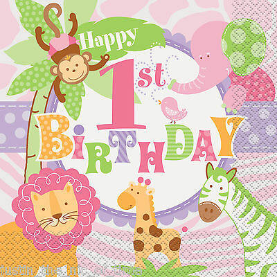 1st First Birthday Girl Pink Party Supplies Tableware Girls Safari Napkins x20