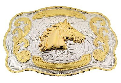 Horse Belt Buckle Tribal Texas Gothic Usa Gold Silver Metal Western Cowboy Rodeo