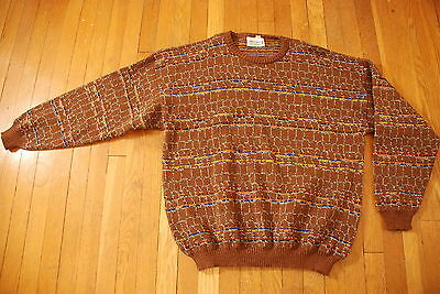 Vintage MASSIMO itay italian brown colorful 80s weave wool 54 Mens sweater XL