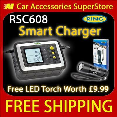 Ring RSC608 Smart Intelligent Battery Charger 12v Car Lead Acid Gel Calcium AGM
