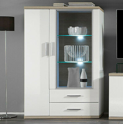 highboard hochglanz wei eiche s gerau standvitrine. Black Bedroom Furniture Sets. Home Design Ideas