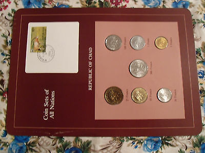 Coin Sets of All Nations Chad 1976 -1983 UNC 500 Francs 76 w/card Central Africa