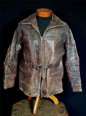 Very Rare Vintage 1940's-1950's Long  Brown Leather Belted  Jacket Size Large