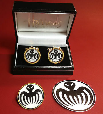 James Bond & Spectre` Agent: Gold & Silver Plated Cuff Links & Badges + Sticker