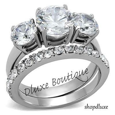 4.50 Ct Round Cut Aaa Cz Stainless Steel Wedding Ring Set Women's Size 5-10